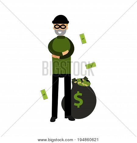 Robber character standing with folded arms and big money bag vector Illustration on a white background