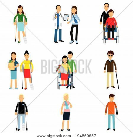 Disabled people characters, handicapped men and women getting medical treatment, health care assistance and accessibility vector Illustrations isolated on white background