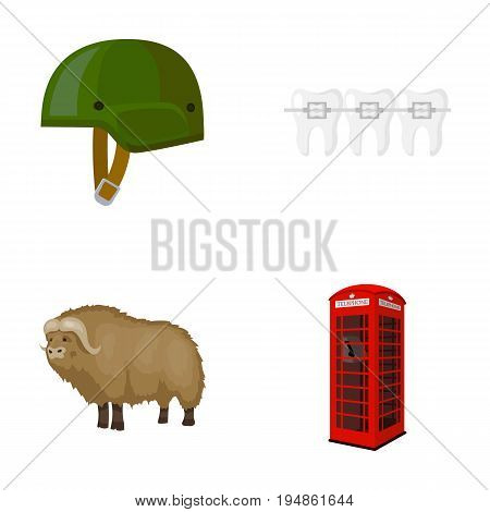 Soldier's helmet, teeth and other  icon in cartoon style. bull, telephone booth icons in set collection.