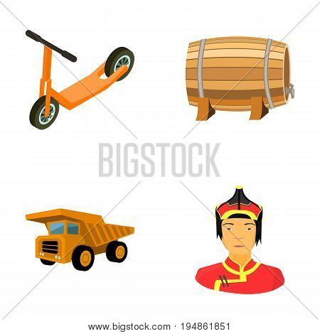 Children's scooter, wooden barrel and other  icon in cartoon style. dump truck, Mongolian warrior icons in set collection.