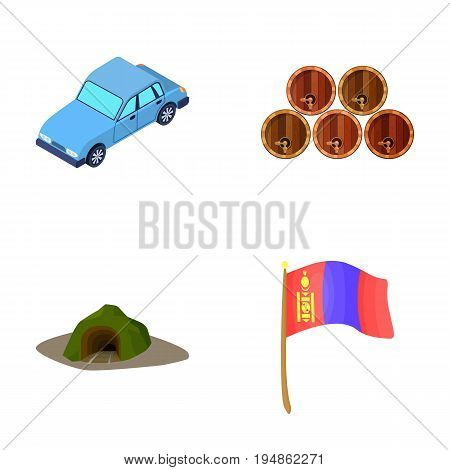 Car, wooden barrels and other  icon in cartoon style. entrance to Mine, flag of Mongolia icons in set collection.