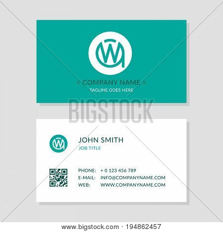Modern Business Card Green colors Set. Creative Company Logo Initial Letters WA or AW. Second Sides of Cards with qr-code. EPS10 Vector Flat Design.