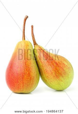 Two ripe red yellow pear fruits isolated on white background.