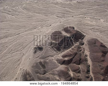 Nazca lines and desert view from small plane Peru