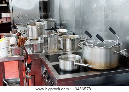 Typical kitchen of a restaurant in operation