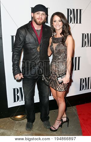 NASHVILLE, TN-NOV 3: (L-R) Lauren Rhett, Thomas Rhett, Brantley Gilbert and Amber Gilbert attend the 63rd annual BMI Country awards at BMI on November 3, 2015 in Nashville, Tennessee.
