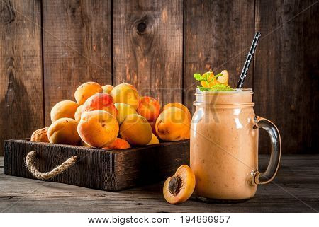 Apricot Smoothie In Mason Jar