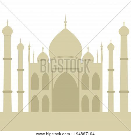 Taj-mahal temple silhouette agra architecture palace tourism travel indian vector illustration. Mausoleum monument islam culture minaret marble tomb landmark.