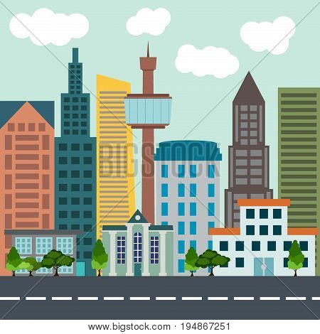 Colorful flat city landscape building architecture street town background vector illustration. House travel downtown urban city landscape residential tower scene skyscraper structure.