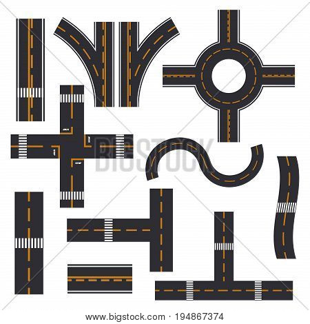 Road elements street transport asphalt line way footpath ring infinity and turns vector illustration. Road highway design plan transportation map element path speedway city road section cconstructor.