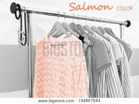 Sweater of salmon color and other clothes with stylish accessories hanging on rack at dressing room