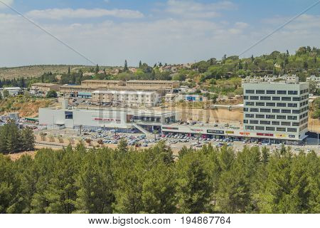 Ariel Israel - April 24 2017: Shops and boutiques in open mall in ariel city - owned by Rami Levy Chain Stores Hashikma Marketing 2006 Ltd. Ariel city located inside the west bank of Israel.