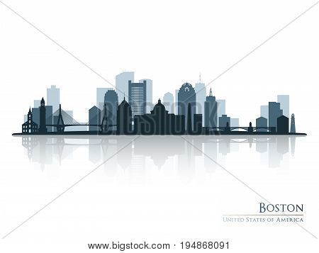 Boston skyline silhouette with reflection. Vector illustration.