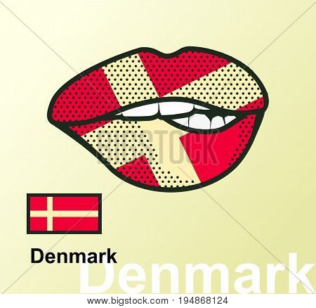 Vector illustration of lip painted Denmark flag isolated foreign language national symbols