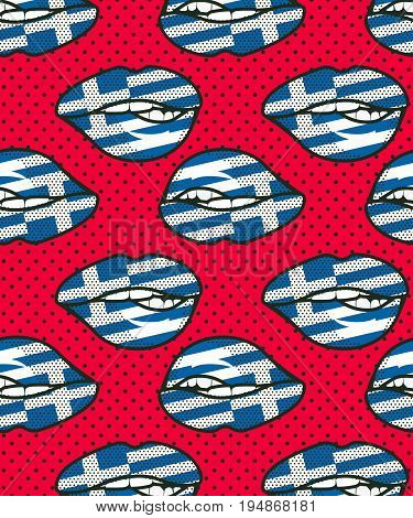 Vector illustration seamless pattern of the national flag on female lips