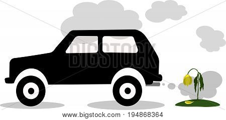 Vector illustration silhouette of car exhaust gas flower