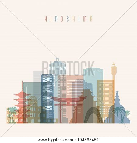 Hiroshima skyline detailed silhouette. Transparent style. Trendy vector illustration.