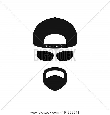 Man with baseball cap sunglasses and goatee. Avatar icon.