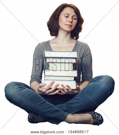 Portrait of tired middle age mature woman student sitting in library with closed eyes meditating sleeping teacher librarian profession back to school concept