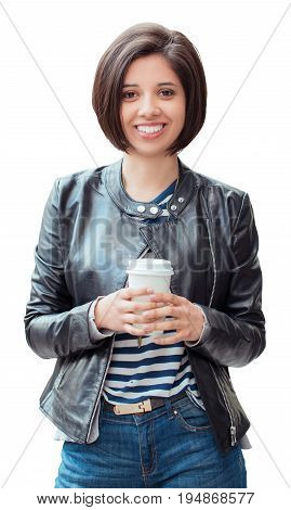Portrait of beautiful smiling young latin hispanic girl woman with short dark black hair bob holding cup of coffee tea isolated on white background looking in camera natural smile emotion
