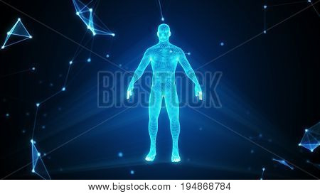 Human Hologram In A Cloud Of Compounds 3D Illustration With Copy Space