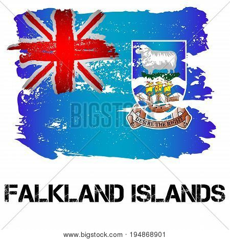 Flag of Falkland Islands from brush strokes in grunge style isolated on white background. Country in South America. Overseas department of Great Britain. Vector illustration