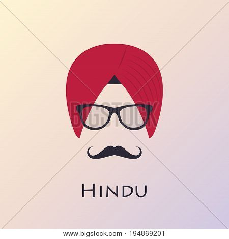 Indian man head icon. Indian culture. Vector illustration.