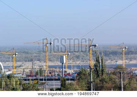 Construction site with a crane and building