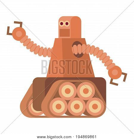 Robot with caterpillar track icon. Cartoon illustration of robot with caterpillar track vector icon for web isolated on white background