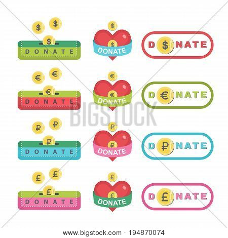 Donate buttons set. Help icon donation. Gift charity. Isolated support design sign. Contribute, contribution, give money, giving symbol. Vector illustration art