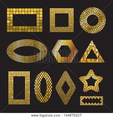 Set of Golden Mosaic ceramic tile frame design elements in different forms square, circle, triangle, oval, rectangle, polyhedron, rhombus, star. Abstract gold texture background. Vector illustration