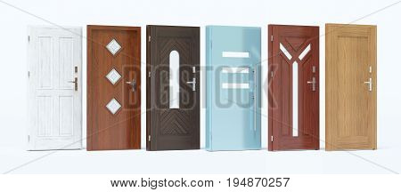 Doors with different materials and colors, 3d render