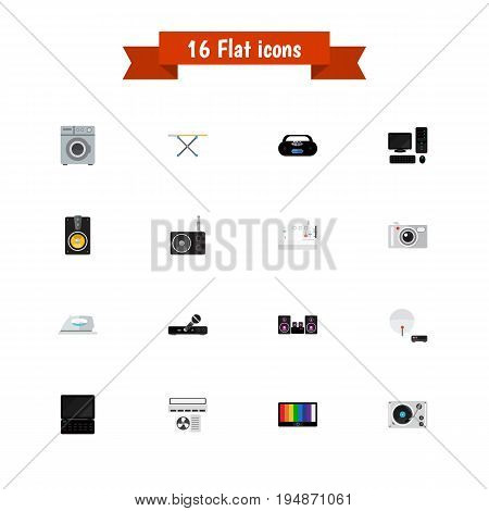 Set Of 16 Editable Home Icons. Includes Symbols Such As Stereo System, Personal Computer, Notebook And More. Can Be Used For Web, Mobile, UI And Infographic Design.