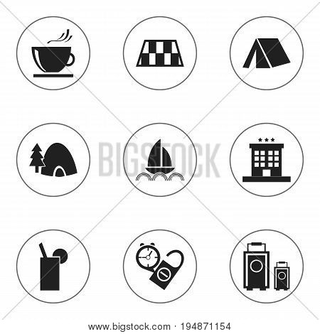 Set Of 9 Editable Holiday Icons. Includes Symbols Such As Rest Time, Luxury Inn, Yacht And More. Can Be Used For Web, Mobile, UI And Infographic Design.