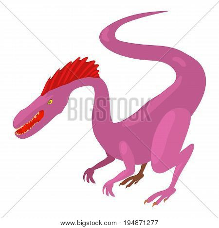 Hungry dinosaur icon. Cartoon illustration of hungry dinosaur vector icon for web isolated on white background