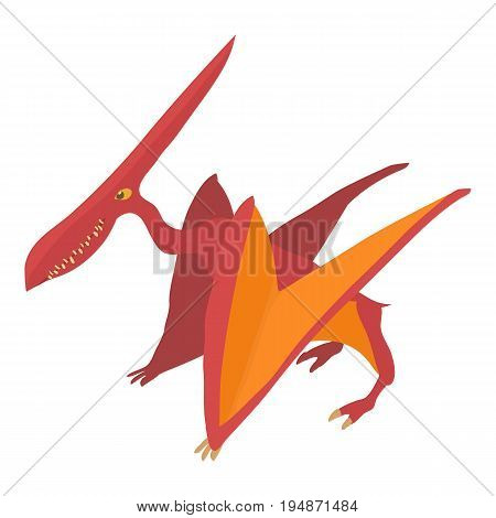 Pterodactyl icon. Cartoon illustration of pterodactyl vector icon for web isolated on white background