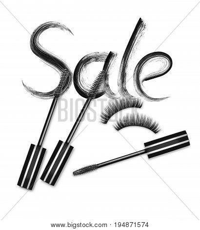 Inscription Sale with mascara brushes and false eyelashes on white backgroud