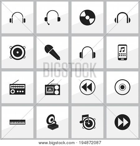 Set Of 16 Editable Multimedia Icons. Includes Symbols Such As Smartphone, Pianoforte, Loudspeaker And More. Can Be Used For Web, Mobile, UI And Infographic Design.