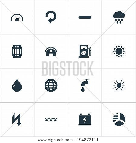 Vector Illustration Set Of Simple Green Icons. Elements Negative, Supply, Daylight And Other Synonyms Battery, Liquid And Sunglow.