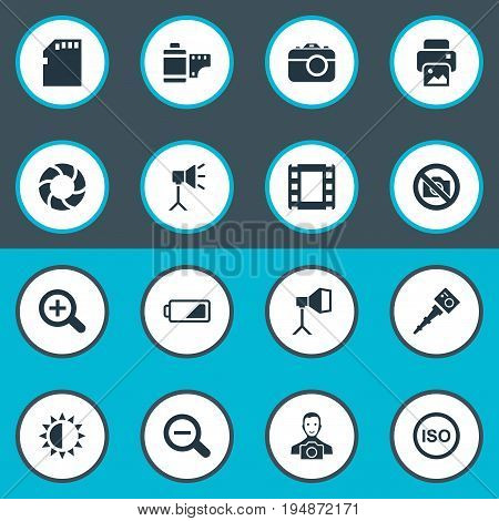 Vector Illustration Set Of Simple Photograph Icons. Elements Luminous Origin, Light Level, Prohibited Camera And Other Synonyms Camera, Brilliance And Shooting.