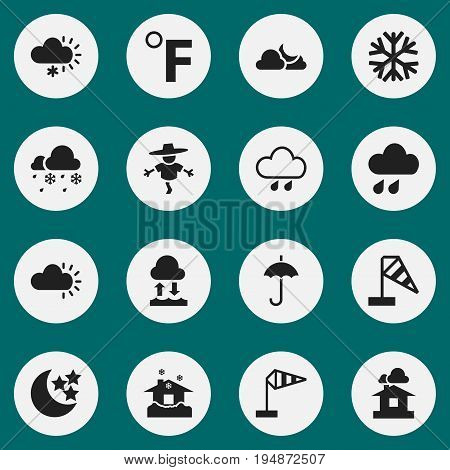 Set Of 16 Editable Air Icons. Includes Symbols Such As Frosty, Clouded, Domicile And More. Can Be Used For Web, Mobile, UI And Infographic Design.