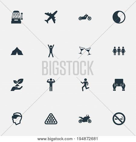 Vector Illustration Set Of Simple Fashion Icons. Elements Casino, Cyberspace, Distance Learning And Other Synonyms Balls, Couple And Speed.