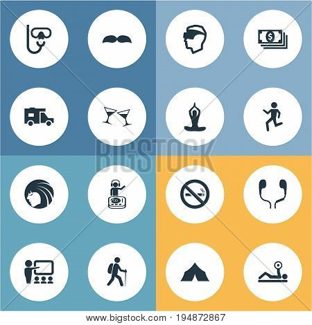 Vector Illustration Set Of Simple Yoga Icons. Elements Cigarette Forbidden, Hairstyle, Travel Home And Other Synonyms Yoga, Long Hairs And Test.