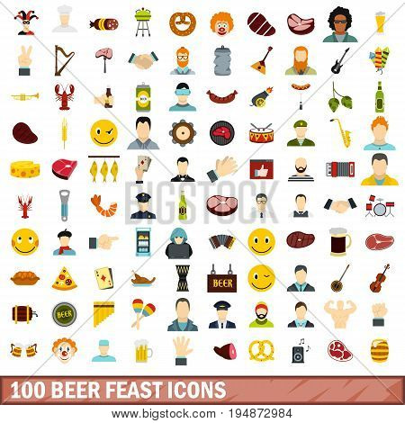 100 beer feast icons set in flat style for any design vector illustration