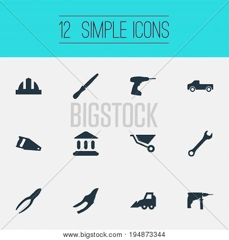 Vector Illustration Set Of Simple Construction Icons. Elements Clipping Tool, Transportation, Electric Screwdriver And Other Synonyms Headwear, Tool And Pliers.