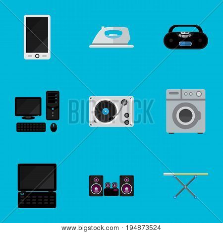 Set Of 9 Editable Tech Icons. Includes Symbols Such As Turntable, Stereo System, Notebook And More. Can Be Used For Web, Mobile, UI And Infographic Design.