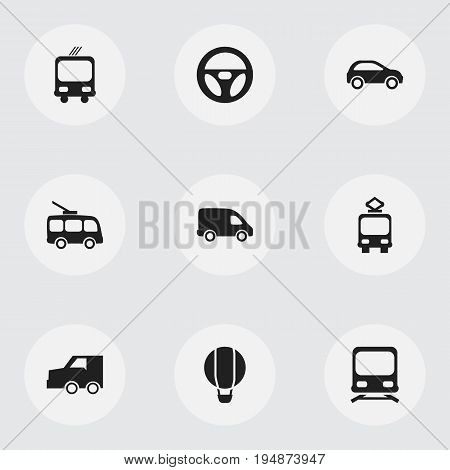 Set Of 9 Editable Shipment Icons. Includes Symbols Such As Delivery, Omnibus, Drive Control And More. Can Be Used For Web, Mobile, UI And Infographic Design.