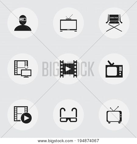 Set Of 9 Editable Movie Icons. Includes Symbols Such As Film Spectacles, Camera Strip, Television And More. Can Be Used For Web, Mobile, UI And Infographic Design.