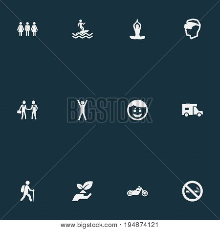Vector Illustration Set Of Simple Health Icons. Elements Cigarette Forbidden, Happiness, Partners And Other Synonyms Camping, Up And Tobaco.