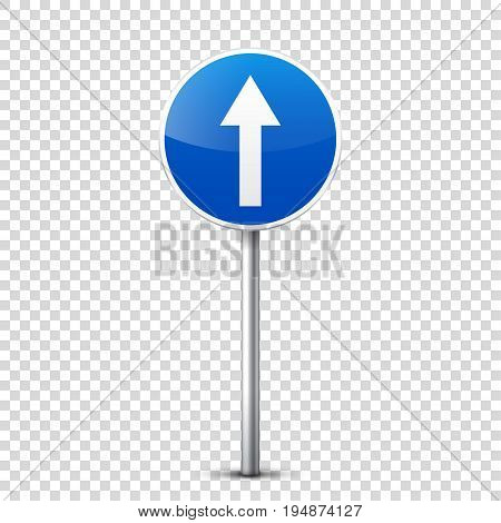 Road blue signs collection isolated on transparent background. Road traffic control.Lane usage.Stop and yield. Regulatory signs. Curves and turns.